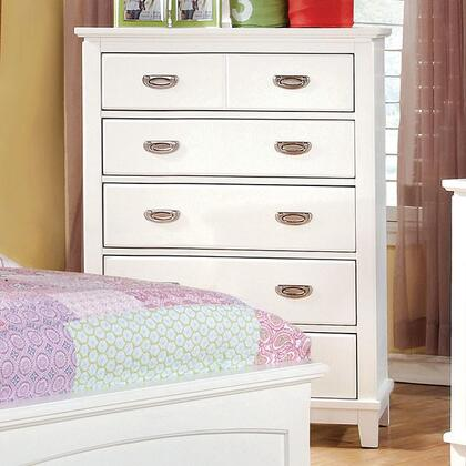 "Furniture of America Colin Collection 32"" Chest with 5 Center Metal Glide Drawers, Solid Wood and Wood Veneers Construction"