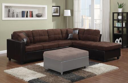 "Coaster Mallory Collection 107.5"" Reversible Sectional with Pillows Included, Loose Cushions, Track Arms, Leatherette and Microfiber Upholstery in Chocolate Color"