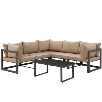 Modway Fortuna Collection 6 PC Outdoor Patio Sectional Sofa Set with Powder Coated Aluminum Frame, Water Resistant, Black Plastic Base Glides and Washable Polyester Cushion in