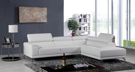 VIG Furniture VGKN8214TOPWHTRAF Divani Casa Wisteria Series Sofa and Chaise Sofa