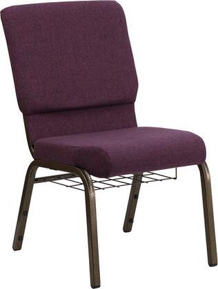"Flash Furniture HERCULES Series FD-CH02185-GV-XX-BAS-GG 17.75"" Church Chair with 4.25"" Thick Seat, Communion Cup Book Rack, Gold Vein Frame, Watrefall Seat Reduces Leg Strain, and Plastic Rocker Glides"