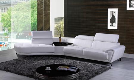 VIG Furniture VGKNK8029TOPWHTLAF Divani Casa Raizel Series Stationary Leather Sofa
