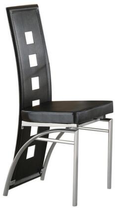 """Coaster Los Feliz 20.5"""" Dining Chair with Straight Front, Curved Back, Matte Silver Metal Legs and Leatherette Upholstery in"""
