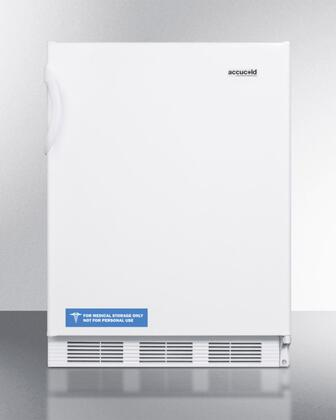 """AccuCold ALF620XBI 24"""" ADA Compliant Medical Compact Freezer with 3.2 cu. ft. Capacity, 3 Slide-Out Drawer Bins, Manual Defrost, and Adjustable Thermostat: White"""
