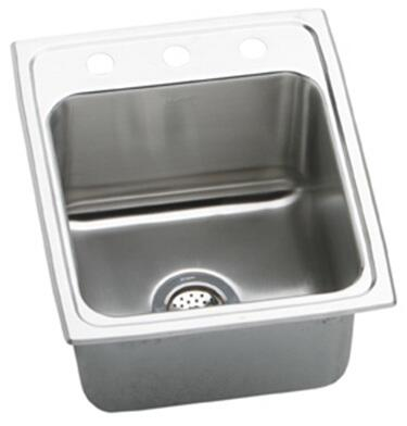 "Elkay DLR172210 Gourmet Lustertone Stainless Steel 17"" x 22"" Single Basin Kitchen Sink:"