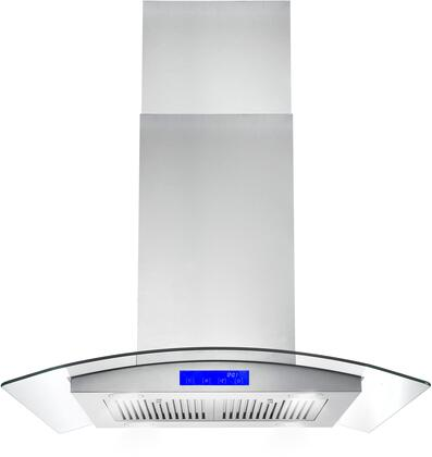 Cosmo 668ICS Chimney Style Island Mount Hood with 900 CFM Airflow Capacity, Adjustable Telescopic Chimney, Stainless Steel Baffle Filters, LED Lights and Ultra Quiet Operation in Stainless Steel