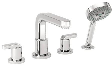 Hansgrohe 31448 Double Handle Four Hole Roman Tub Filler Faucet with Metal Lever Handles and Multi Function Hand Shower from the Metris S Collection: