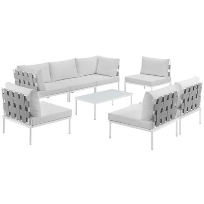 Modway Harmony Collection EEI-2625-WHI- 8-Piece Outdoor Patio Aluminum Sectional Sofa Set with 5 Armless Chairs, Coffee Table and 2 Corner Sofas in