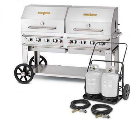"Crown Verity CVMCC60RDP 60"" Liquid Propane Mobile Club Grill with 129000 BTU Capacity, Roll Domes, Bun Racks and Two 14"" Wheels and Two Total Lock Casters: Stainless Steel"