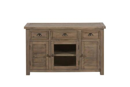 "Jofran Slater Mill Collection 942-XX X0"" Reclaimed Pine Media Unit with Three Drawers, Two Wood Doors and Two Side Cabinets in Hand-Finished Medium Brown Pine"
