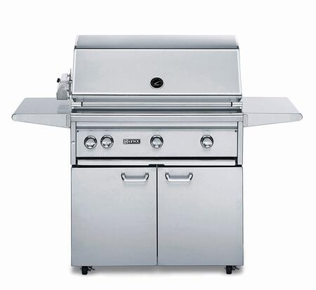 "Lynx L36ASFR Professional Series 62"" Freestanding Grill with 3 ProSear2 Burners and Rotisserie, 935 sq. in. Cooking Surface, Grill Halogen Lights and Heat Stabilizing Design, in Stainless Steel:"