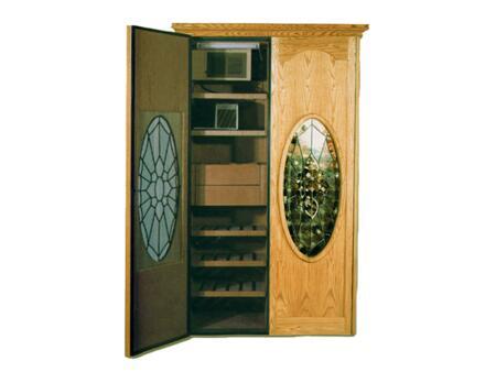 Vinotemp VINO-700W&C Two Door Oak Wine & Cigar Cooler Cabinet,