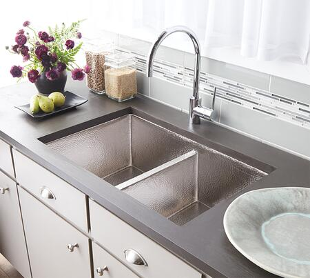 """Native Trails Copper Kitchen Sinks Collection Cocina Duet Kitchen Sink with 3.5"""" Drain Opening, Double Bowl, Undermount Installation, Brushed Nickel and Copper Material in Brushed Nickel Finish"""
