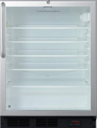 "Summit SCR600LPUBCSSx 24"" Wine Coolers with 5.5 cu. ft. Capacity, Commercially Approved, Stainless Steel Cabinet, Digital Thermometer, Automatic Defrost, Adjustable Glass Shelves, Door Lock, Interior Light and CFC Free, in Stainless Steel"