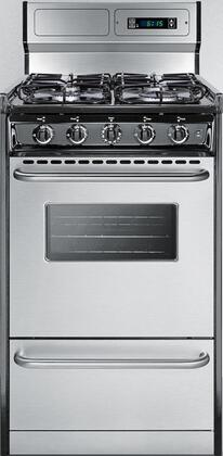 Summit TTMx3027BKSW Freestanding Gas Range with 4 Sealed Burners, Backguard with Digital Clock and Timer, Electronic Ignition and Broiler Compartment, in Stainless Steel
