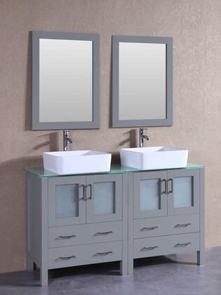 """Bosconi AGR230RCCWGX XX"""" Double Vanity with Clear Tempered Glass Top, Rectangle White Ceramic Vessel Sink, F-S02 Faucet, Mirror, 4 Doors and X Drawers in Grey"""