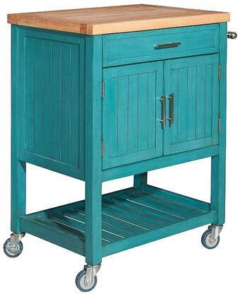 "Powell Conrad Collection D1008A15 30"" Kitchen Cart with 1 Drawer, 2 Doors, 2 Shelves, Thick Butcher Block Top, Rubber and Pine Wood Construction in Color"