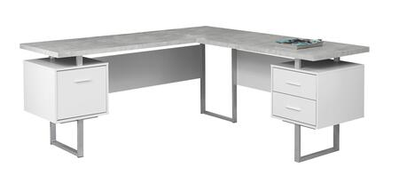 "Monarch I730DESK 71"" Computer Desk with 2 Storage Drawers, 1 File Drawer and Silver Metal Track Legs in"