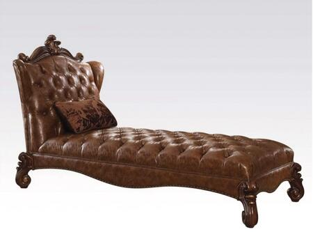 Acme Furniture 9654 Versailles Chaise with 1 Pillow Included, Nail Head Trim, PU Leather Upholstery, Button Tufted Back and Seat in
