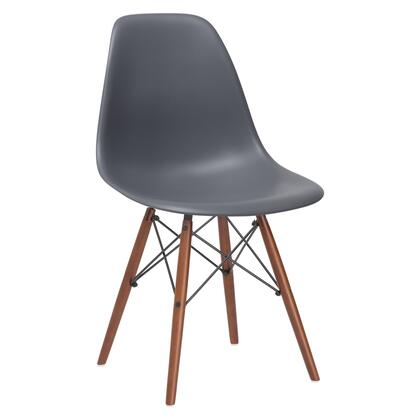EdgeMod EM105WALGRY Vortex Series Modern Wood Frame Dining Room Chair