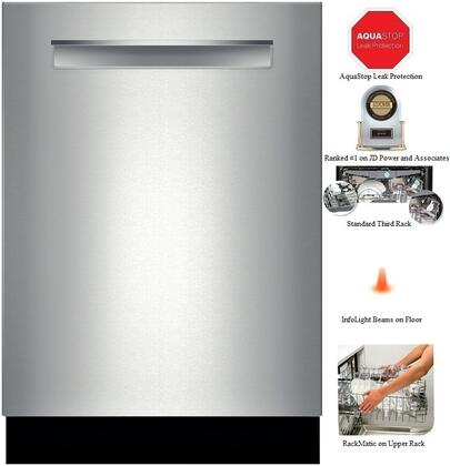 Bosch SHP65T5UC 500 Series Dishwasher with Pocket Handle, 16 Place Settings, 5 Wash Cycles, 44 dBA, Self-latching Door, LED Display and Energy Star Rating