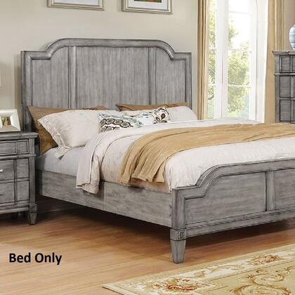 Furniture of America Ganymede CM7855X Bed with Transitional Style, Wooden Headboard Designs, English Dovetail Drawer Construction, Felt-Lined Top Drawers in Gray