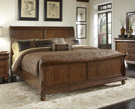 Liberty Furniture Rustic Traditions Collection 589-BR-XSL Sleigh Bed with Bun Feet, Classic Louis Philippe Styling and Center Supported Slat System in Rustic Cherry Finish