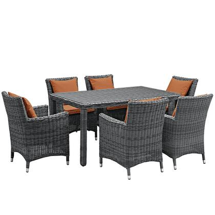 Modway Summon Collection EEI-2334-GRY- 7-Piece Outdoor Patio Sunbrella Dining Set with Dining Table and 6 Armchairs in