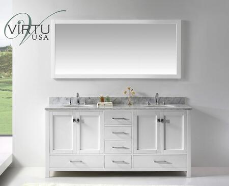 "Virtu USA GD-50072-WM-WH Virtu USA 72"" Caroline Avenue Double Sink Bathroom Vanity in White with Italian Carrara White Marble"