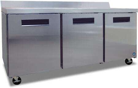"""Hoshizaki CRMR72Wxx 72"""" Commercial Worktop Refrigerator with 19.7 cu. ft. Capacity, Stainless Steel Exterior, 3 Epoxy Coated Shelves, Stepped Door Design, and Field Reversible Door, in Stainless Steel"""