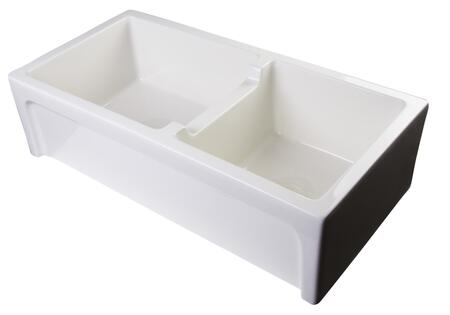 "Alfi AB3618ARCH 36"" Thick Wall Double Bowl Farm Sink with Fireclay, Standard 3 1/2"" Center Drain and an Elegantly Designed Arch on Front of The Apron in"