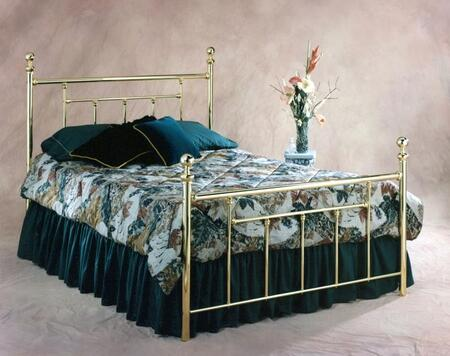 Hillsdale Furniture 103B Chelsea Poster Bed Set with Round Finials, Rails Not Included and Metal Construction in Classic Brass Finish
