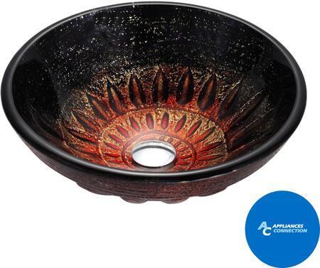 """Kraus CGV68119MM10 Multicolor Series 17"""" Magma Round Vessel Sink with 19-mm Tempered Glass Construction, Easy-to-Clean Polished Surface, and Included Waterfall Faucet"""