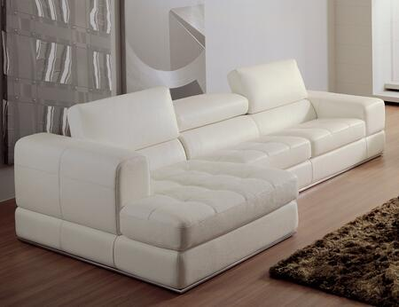 VIG Furniture VGEV956WHTBL Divani Casa Series Stationary Bonded Leather Sofa