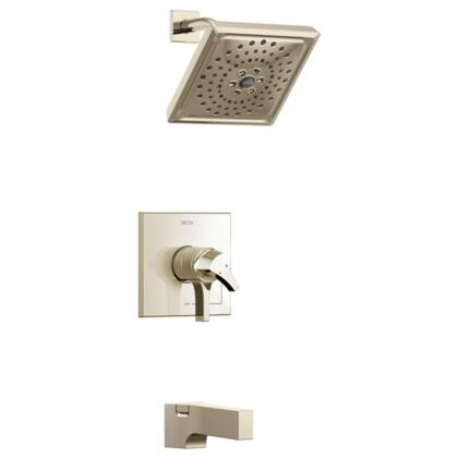 Zura T17474-PN Delta Zura: Monitor 17 Series H2Okinetic Tub and Shower Trim in Polished Nickel