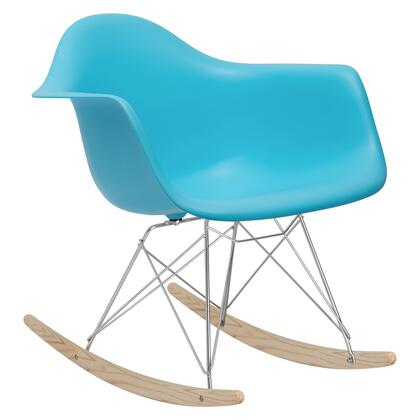 EdgeMod EM121AQU Rocker Series  Wood and Metal Frame Rocking Chair
