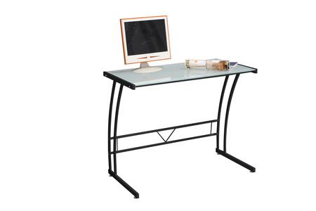 """LumiSource Sigma OFD-TM-BITSGL 35"""" Desk with Tempered Glass Top, Metal Frame and Stretcher in"""