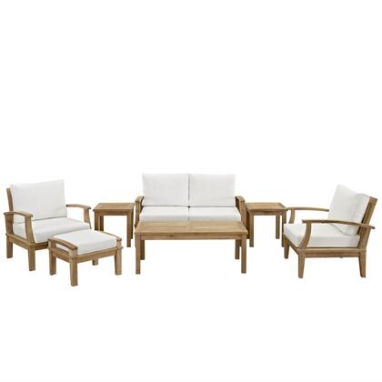 Modway EEI-1486-NAT Marina 7 Piece Outdoor Patio Teak Set with Loveseat + 2 Chairs + Ottoman + 2 Side Tables + Coffee Table, Natural Teak Finish, Water and UV Resistant Cushions