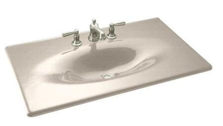 "Kohler K-3051-8- 37"" Cast Iron One Piece Surface and Basin Bathroom Sink with Three 8"" Center Faucet Holes from the Impressions Collection:"