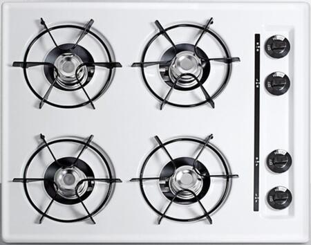 """Summit WNL03 24"""" Built-In Natural Gas Cooktop with Four 9000 BTU Open Burners, Recessed Top, Porcelain Enameled Steel Grates, and Porcelain Cooking Surface in White"""