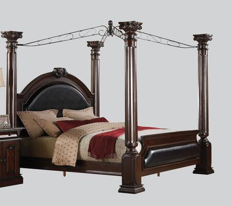Acme Furniture Roman Empire Collection Canopy Bed with Black PU Leather Upholstery, Poplar Wood and Birch Veneer Materials in Dark Cherry Finish
