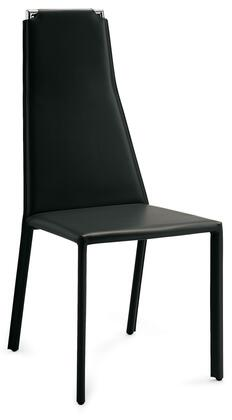 Domitalia CLIFFS0K0CRRNE Cliff Series Modern Bonded Leather Metal Frame Dining Room Chair