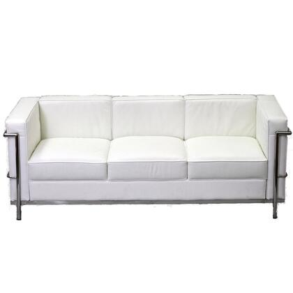 Modway EEI128WHI Charles Series Stationary Leather Sofa