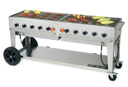 "Crown Verity CV-MCB-72XX 81"" Wide Mobile Grill with 159,000 BTU/H, 10 Burners, 70"" Cooking Surface, Two Wheels, Two Lock Casters and Storage Shelf in Stainless Steel"