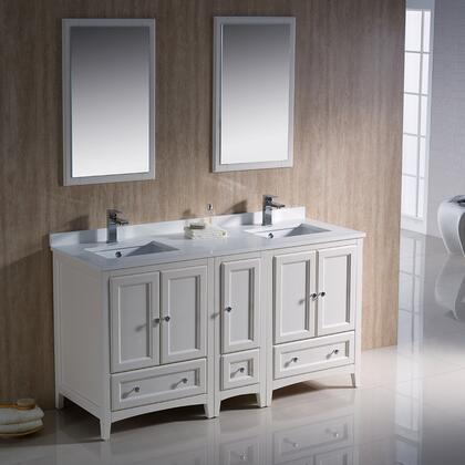 "Fresca Oxford Collection FVN20-241224 60"" Traditional Double Sink Bathroom Vanity with 5 Soft Close Doors, 3 Soft Close Dovetail Drawers and Tapered Legs in"