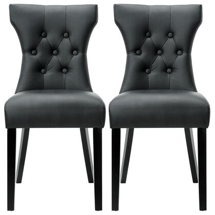 Modway EEI-911-XXX Silhouette Modern Dining Chair with Graceful Curves, Button Tufted Back, Birch Wood Frames, Dense Foam Padding and Vinyl Upholstery