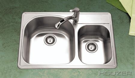 "Houzer PMC-3322SX Premiere Designer 33"" Stainless Steel Topmount Double Sink: Satin Finish"