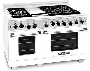 American Range ARR484GDGRW Heritage Classic Series Natural Gas Freestanding Range with Sealed Burner Cooktop, 4.8 cu. ft. Primary Oven Capacity, in White
