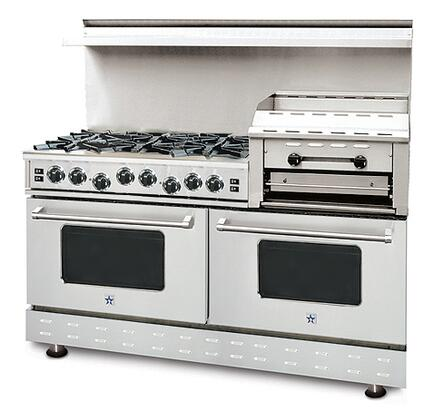 """BlueStar RNB606GHCSSLP 60"""" Heritage Classic Series Stainless Steel Gas Freestanding Range with Open Burner Cooktop, 4.5 cu. ft. Primary Oven Capacity,"""
