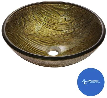 """Kraus CGV39519MM10 Nature Series 17"""" Terra Round Vessel Sink with 19-mm Tempered Glass Construction, Easy-to-Clean Polished Surface, and Included Waterfall Faucet"""